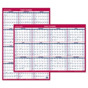 AT-A-GLANCE Erasable Vertical/Horizontal Wall Planner, 24 x 36, Blue/Red, 2020