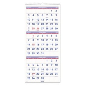 """AT-A-GLANCE Vertical-Format Three-Month Reference Wall Calendar, 12"""" x 27"""", 2017-2019"""