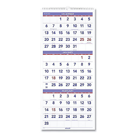 AT-A-GLANCE Vertical-Format Three-Month Reference Wall Calendar, 12 x 27, 2021