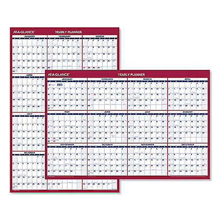 AT-A-GLANCE Erasable Vertical/Horizontal Wall Planner, 24 x 36, Blue/Red, 2021