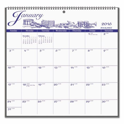 AT-A-GLANCE - 12-Month Illustrator's Edition Wall Calendar, 12 x 11 3/4, Illustrations -  2016