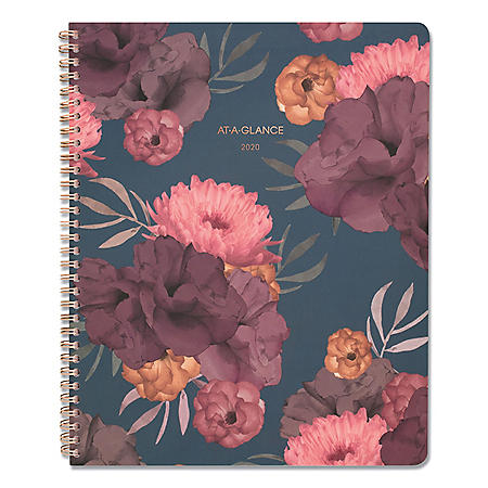 """AT-A-GLANCE Dark Romance Weekly/Monthly Planner, 11"""" x 9"""", Floral, 2020-2021"""