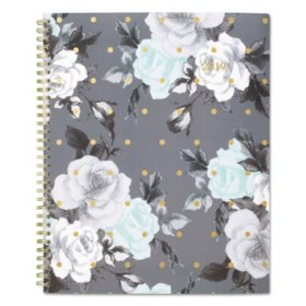 Cambridge® Tea Time Weekly/Monthly Planner, 8 1/2 x 11, Gold/Gray/White, 2019