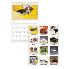 AT-A-GLANCE® Puppies Monthly Wall Calendar, 15 1/2 x 22 3/4, 2018