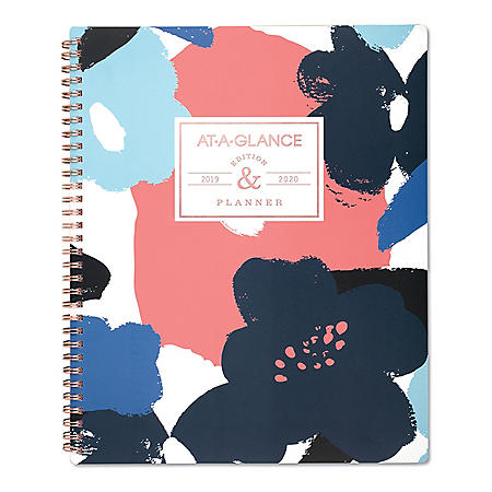 """AT-A-GLANCE Badge Floral Academic Planner, 11"""" x 8 1/2"""", 2019-2020"""