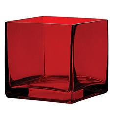 "4"" x 4"" x 4"" Square Vase - Ruby (12 ct.)"