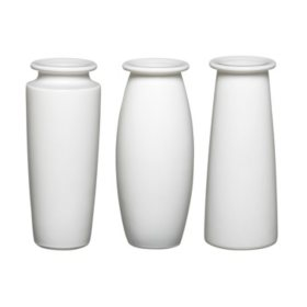 """9"""" White Trio Bouquet Vase Assortment (12 ct.)"""