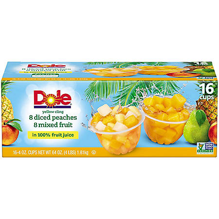 Dole Fruit Bowls Diced Peaches and Mixed Fruit in 100% Fruit Juice (4 oz., 16 ct.)
