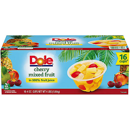 Dole Fruit Bowls Cherry Mixed Fruit in 100% Fruit Juice (4 oz., 16 ct.)