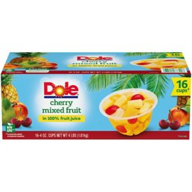 Dole Fruit Bowls Cherry Mixed Fruit in 100% Fruit Juice (4 oz., 16 ct.)
