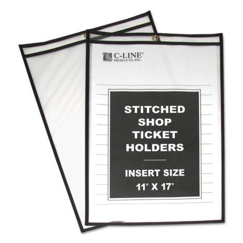 """C-Line - Shop Ticket Holders, Stitched, Both Sides Clear, 11"""" x 17"""" - 25 ct."""