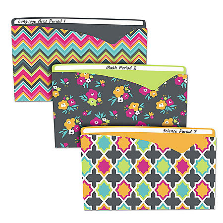 C-Line Write-On Fashion Poly File Jackets, Letter, Polypropylene, Assorted Bold, 6/Pack