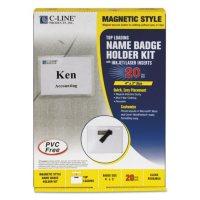 "C-Line Magnetic Name Badge Holder Kit, Horizontal, 4"" x 3"", Clear (20 per box)"