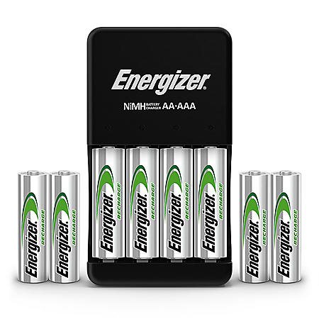 Energizer Recharge Plus USB Charger for NiMH Rechargeable AA and AAA Batteries (4 AA & 4 AAA NiMH batteries included)