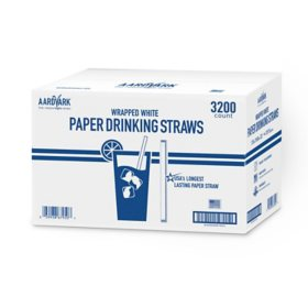 White Wrapped Paper Straws (3,200 ct.)