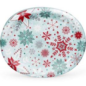 Member's Mark Glittered Snowfall Oval Paper Plates (55 ct.)