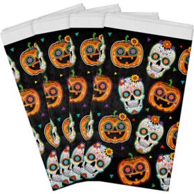 "Artstyle Sugar Skull and Pumpkin Fiesta Plastic Tablecloths 54"" x 108"" - 4 ct."