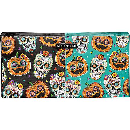 "Artstyle Sugar Skull and Pumpkin Fiesta Napkins Twin Stack 6.5"" - 200 ct."