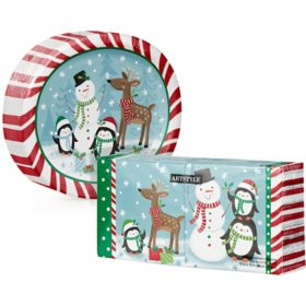 Artstyle Snowman and Holiday Friends Oval Plate and Napkin Kit (255 ct.)