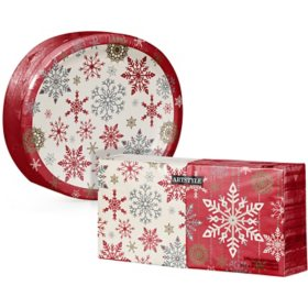 Artstyle Holiday Snowflakes Oval Paper Plate and Napkin Kit (255 ct.)