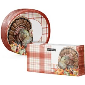 Artstyle Always Thankful Thanksgiving Oval Paper Plate and Napkin Kit (255 ct.)