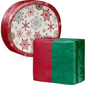 Artstyle Holiday Snowflakes Oval Paper Plate and Dinner Napkin Kit (205 ct.)