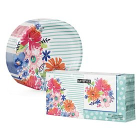 Artstyle Spring Bliss Oval Paper Plates and Napkins Kit (255 ct.)