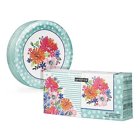 Artstyle Spring Bliss Paper Plates and Napkins Kit (290 ct.)