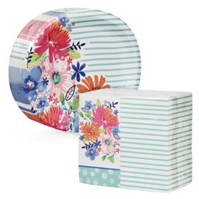 Artstyle Spring Bliss Oval Paper Plates and Dinner Napkins Kit (205 ct.)