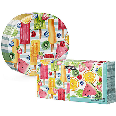 Artstyle Summer Fun Treats Oval Paper Plates and Napkins Kit (255 ct.)