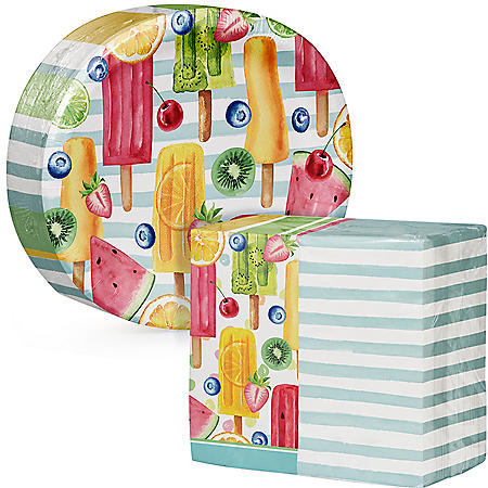 Artstyle Summer Fun Treats Oval Paper Plates and Dinner Napkins (205 ct.)