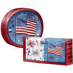 Artstyle Patriotic Fun Oval Paper Plates and Napkins Kit (255 ct.)