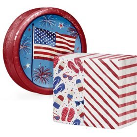 Artstyle Patriotic Fun Paper Plates and Dinner Napkins Kit (240 ct.)