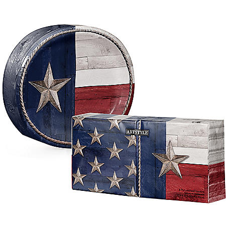 Artstyle Patriotic Flag of Texas Oval Paper Plates and Napkins Kit (255 ct.)