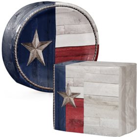Artstyle Patriotic Flag of Texas Oval Paper Plates and Dinner Napkins (205 ct.)