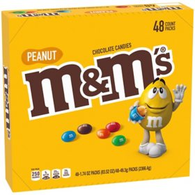 M&M'S Peanut Chocolate Candy, Full Size, Bulk Fundraiser (1.74oz., 48pk.)
