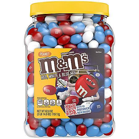 M&M's Peanut Red, White and Blue Milk Chocolate Bulk Candy Jar (62 oz.)