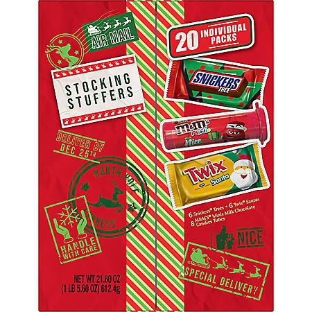 M&M'S, Snickers, Twix Stocking Stuffer Assorted Candy Christmas Santa Box (20-Piece Gift Box)