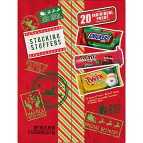 M&M'S, Snickers, Twix Stocking Stuffer Assorted Candy Christmas Santa Box (20-Piece Gift Box)