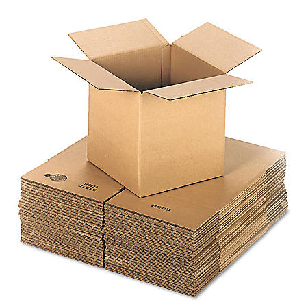 """General Supply Brown Corrugated - Cubed Fixed-Depth Shipping Boxes, 12"""" L x 12"""" W x 12"""" H, 25/Bundle"""
