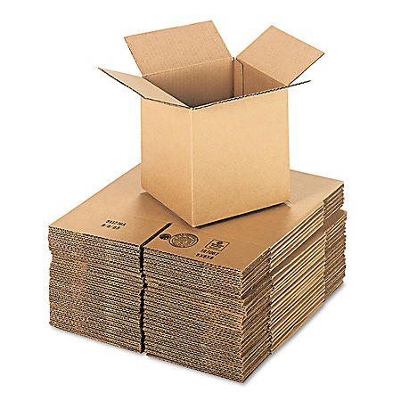 """General Supply Brown Corrugated - Cubed Fixed-Depth Shipping Boxes, 8"""" L x 8"""" W x 8"""" H, 25/Bundle"""