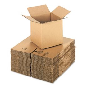 "General Supply Brown Corrugated - Cubed Fixed-Depth Shipping Boxes, 8"" L x 8"" W x 8"" H, 25/Bundle"