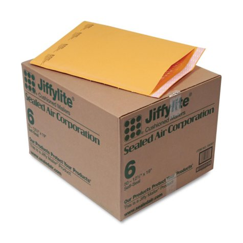 Sealed Air - Jiffylite Self-Seal Mailer, Side Seam, #6, 12 1/2 x 19, Golden Brown, 50 per Carton
