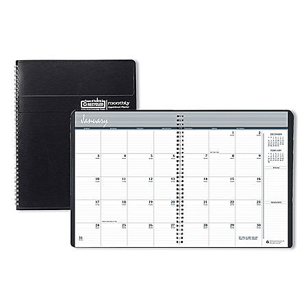 House of Doolittle Recycled Ruled Monthly Planner, 14-Month Dec.-Jan., 11 x 8.5, Black, 2020-2022