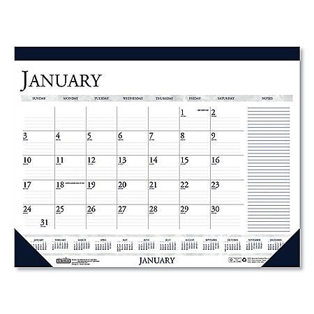 House of Doolittle Recycled Two-Color Monthly Desk Calendar with Large Notes Section, 18.5 x13, 2021