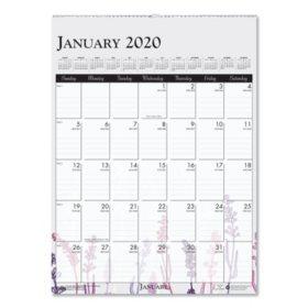 "House of Doolittle 100% Recycled Wild Flower Wall Calendar, 12"" x 16 1/2"", Wild Flowers, 2020"
