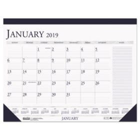 House of Doolittle™ Recycled Two-Color Monthly Desk Pad Calendar w/Large Notes Section, 22x17, 2019