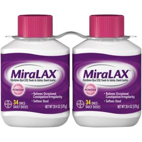 MiraLAX Laxative Powder for Gentle Constipation Relief (2 ct. 34 Dose each)