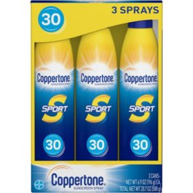Coppertone Sport Continuous Spray Sunscreen, SPF 30 (6.9 oz., 3 pk.)