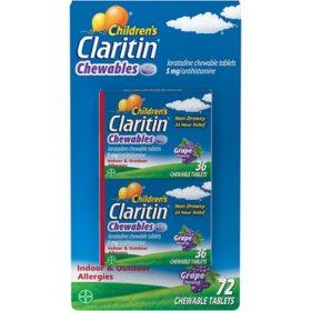 Children's Claritin 24-Hour Non-Drowsy Allergy Grape Chewable Antihistamine Tablet, Loratadine 5 mg (72 ct.)